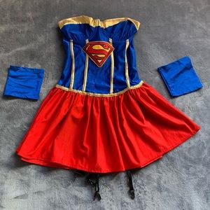 Supergirl Halloween Costume w/Cape & Cuffs - Small